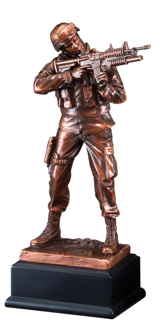 "11 1/2"" Bronze Army Figure"