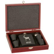 Stainless Steel Flask Gift Set (Black)