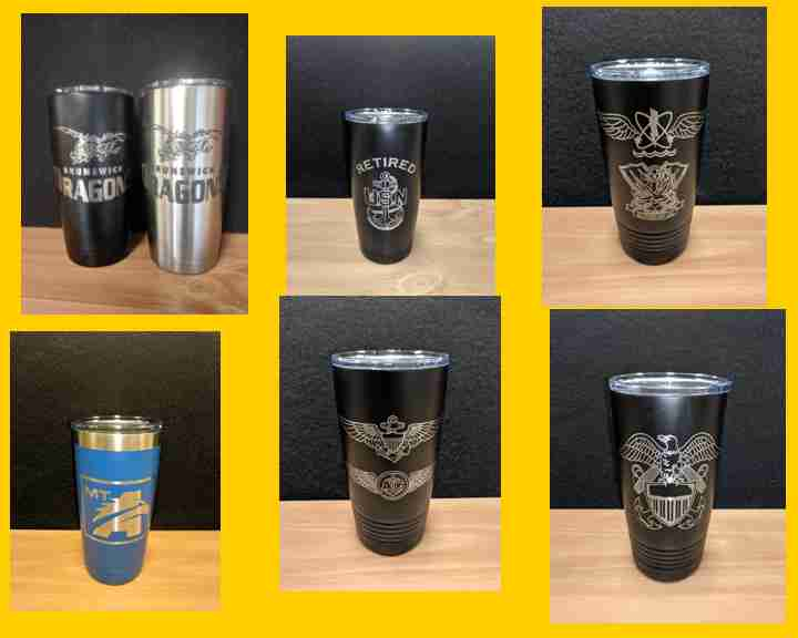 Engraved Samples of 20 oz Polar Camel Travel Mugs in Black, Blue, and Stainless Steel